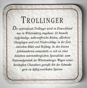 Trollinger Bierdeckel II. mit Beschreibung
